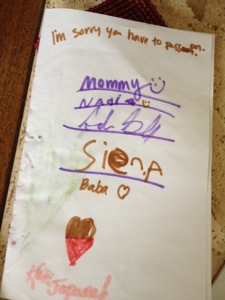 "Nadia's card to Lola. At the top it says ""I'm sorry you have to pass on"" - then she wanted everyone to sign it."